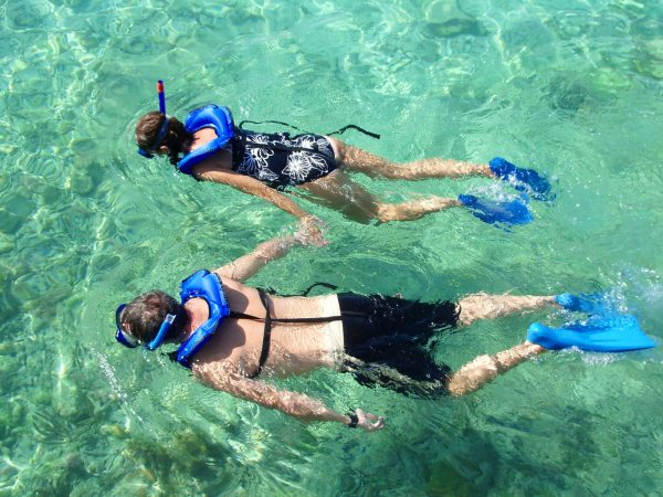 Couple snorkeling off the Florida Keys